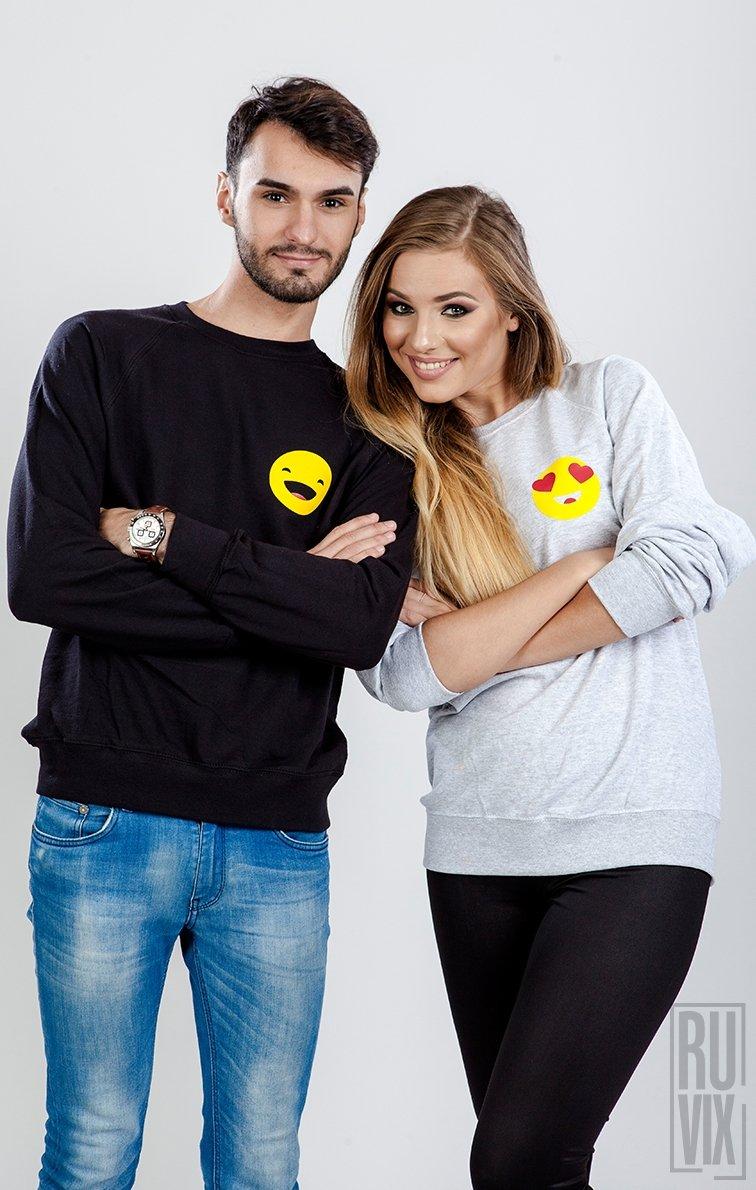 Set Sweatshirt Emoticon Smiley + Inima