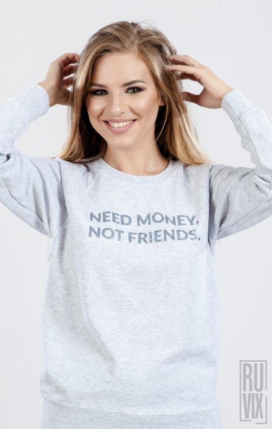 PROMOȚIE Sweatshirt Need Money Gri