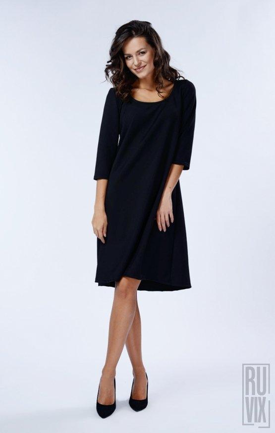 Rochie Neagră Mânecă Lungă