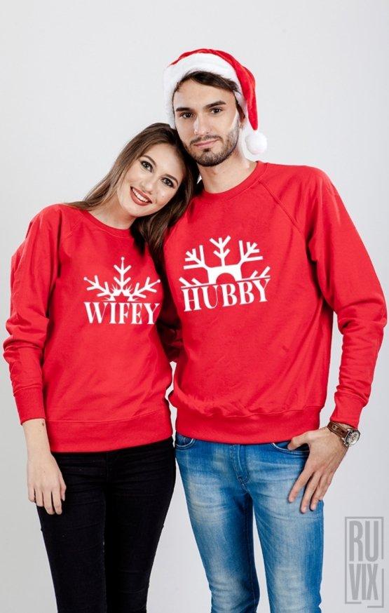 Set Sweatshirt Hubby Wifey Fulg De Nea