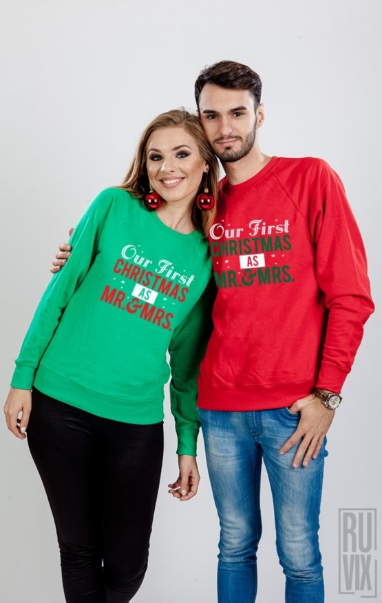 Set Sweatshirt Our First Christmas As Mr and Mrs