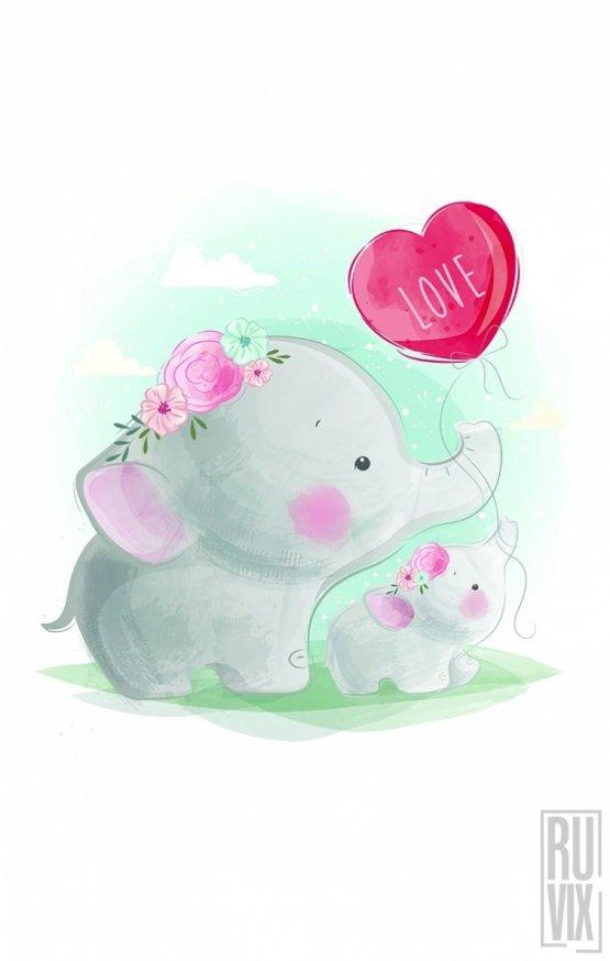 SET Tricouri Familie Elephant LOVE
