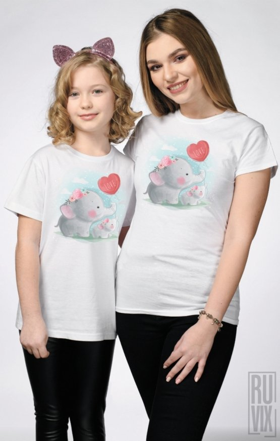 SET Tricouri Familie Elephant LOVE