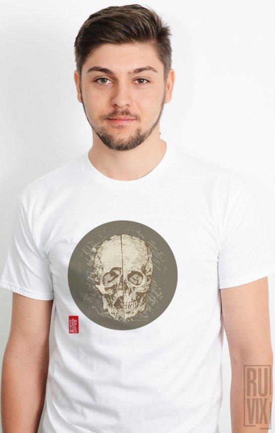 Tricou Alb Davinci Skull1