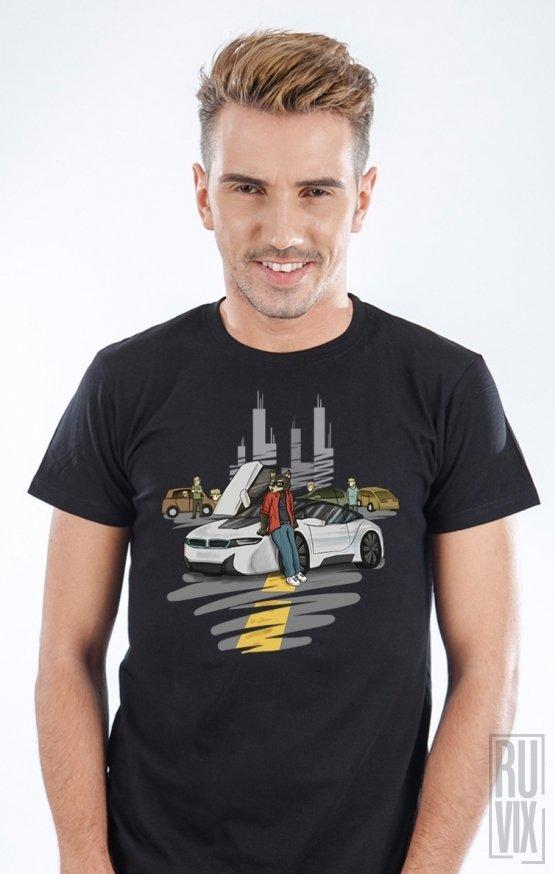 Tricou Negru Lupul Între Oi - Mașini