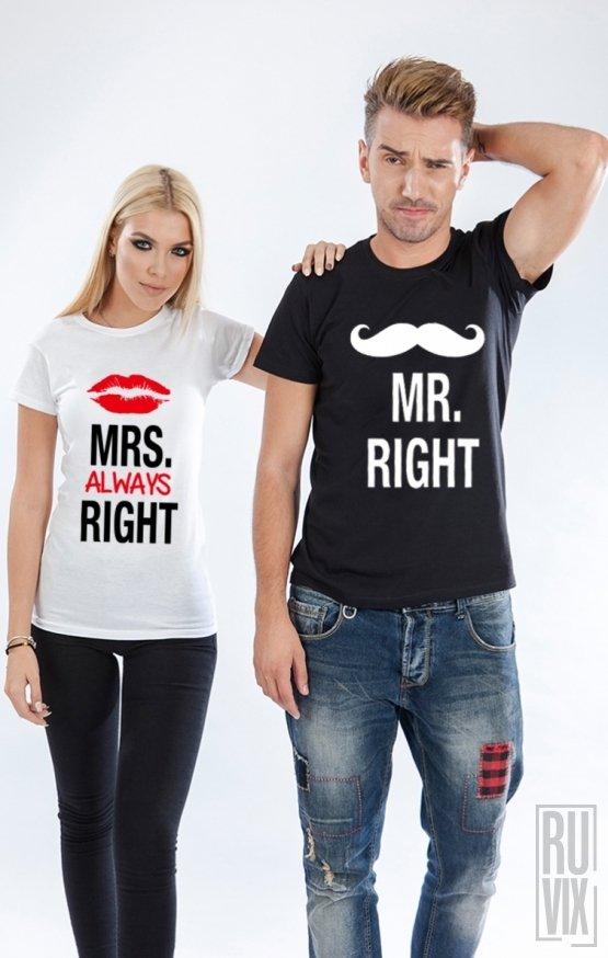 Tricouri de Cuplu Mr si Mrs ALWAYS RIGHT