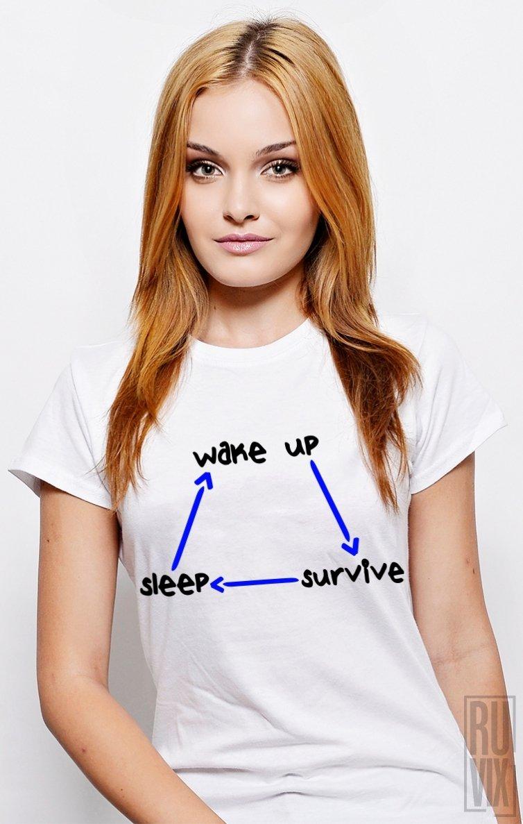 PROMOȚIE Tricou Wake UP, Survive, Sleep