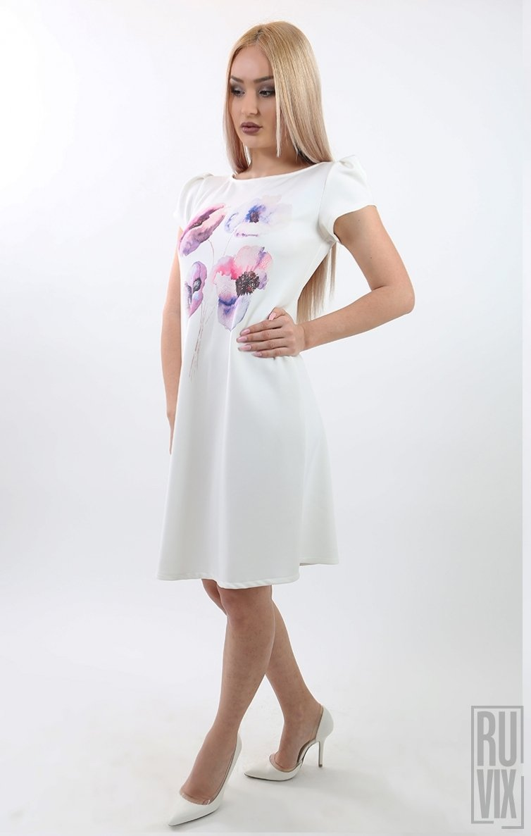 Rochie Albă Flori Mov