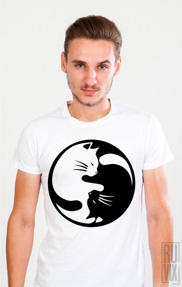 Tricou Yin și Yang Cat