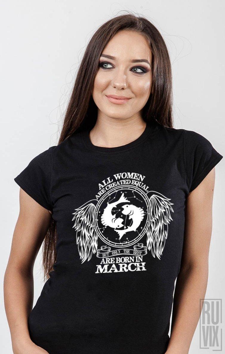 Tricou Pești - Zodiac Martie Damă