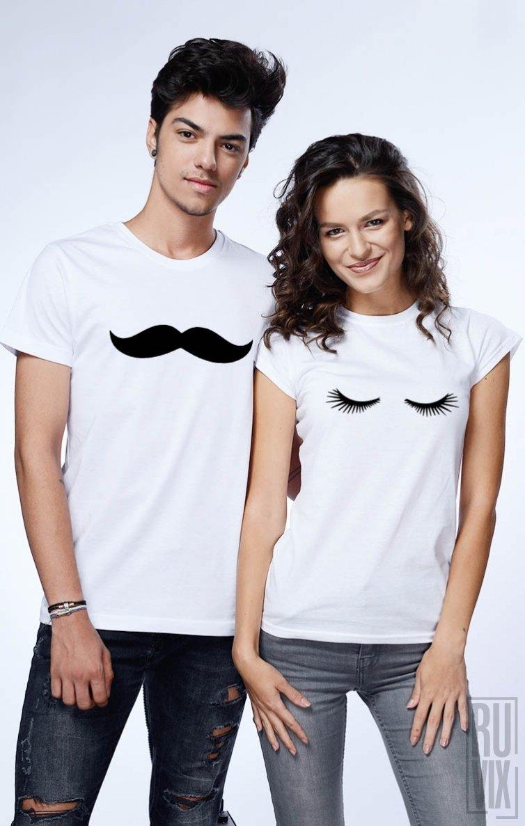 Tricouri de Cuplu Lashes and Moustache