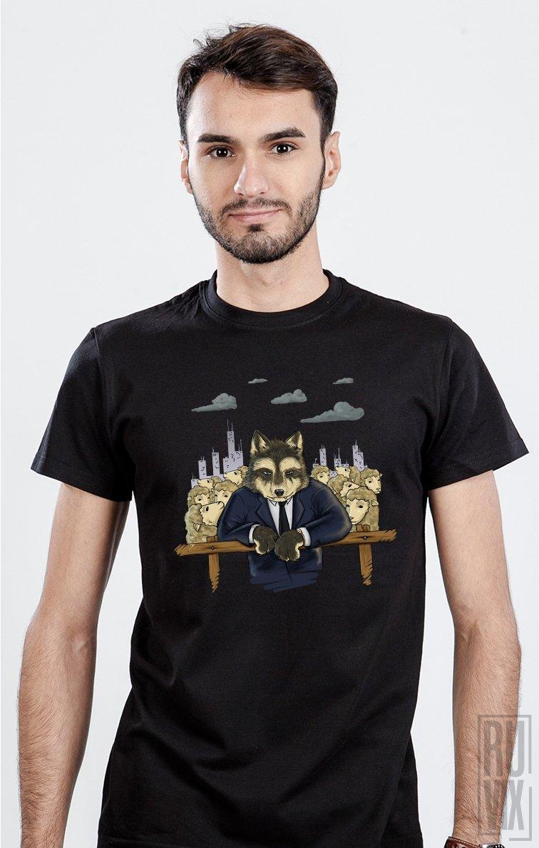 Tricou Negru Lupul Între Oi - Clasic